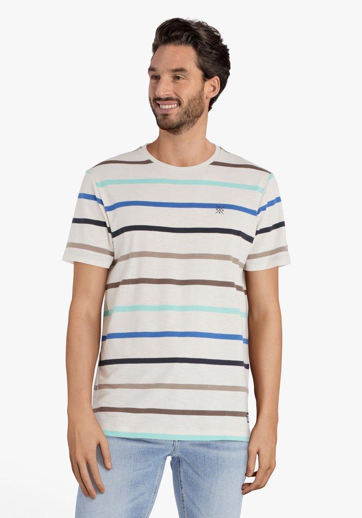 Ecru T-shirt met blauw-taupe strepen