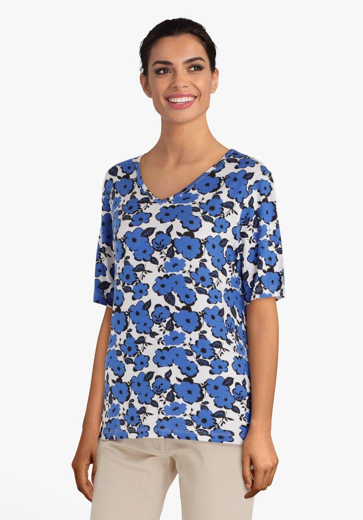 Ecru T-shirt met blauwe bloemen