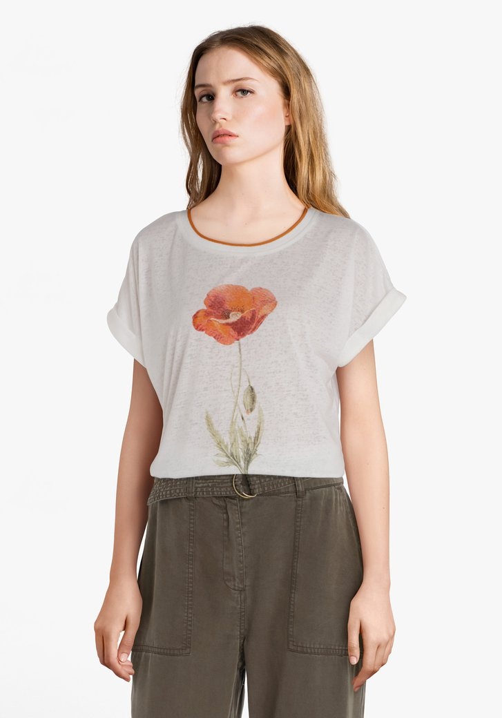 Afbeelding van Ecru T-shirt met bloem