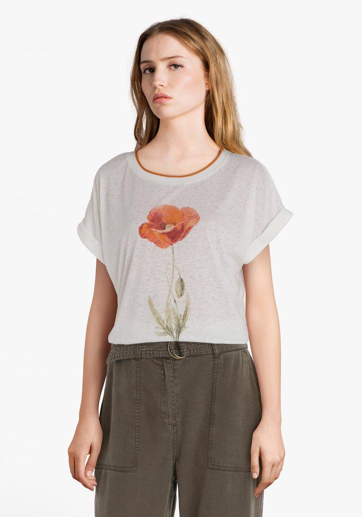 Ecru T-shirt met bloem