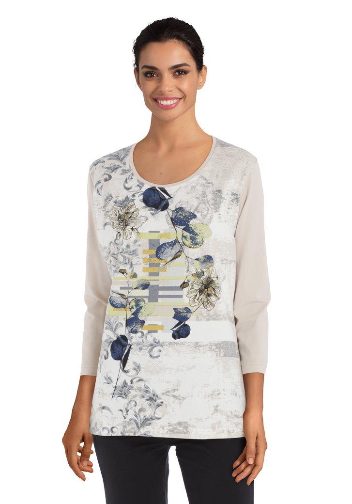 Ecru T-shirt met bloemen en strass