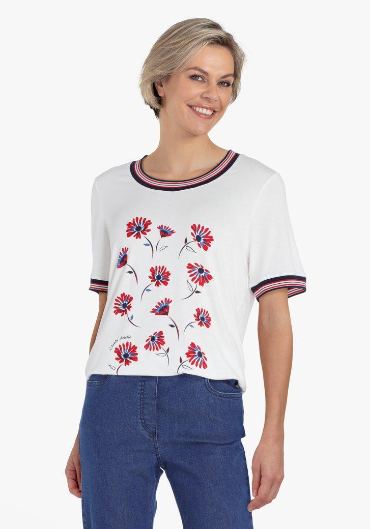 Ecru T-shirt met bloemenprint