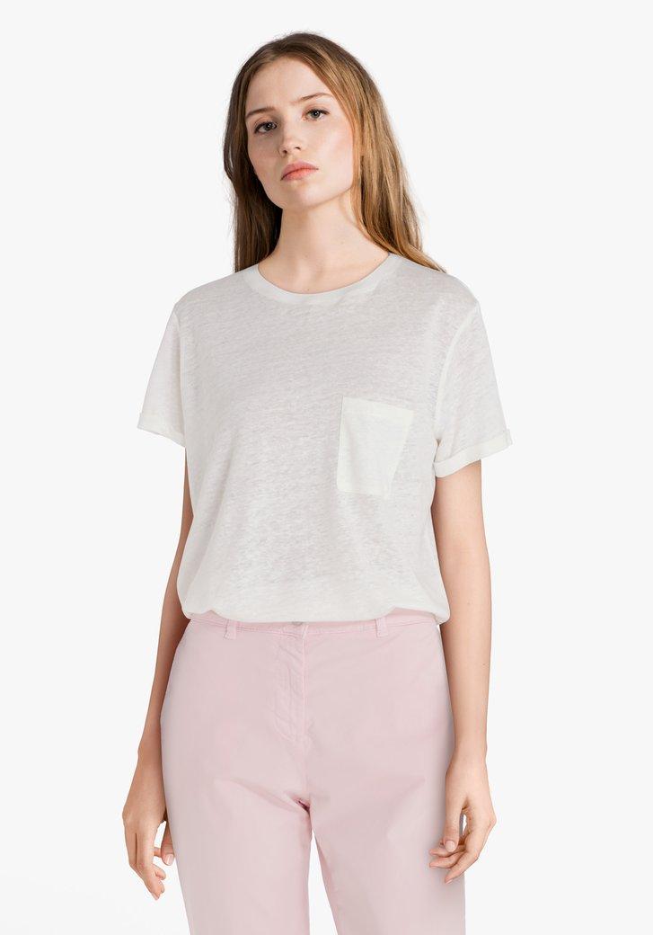 Ecru T-shirt met borstzakje