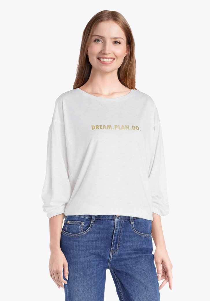 Ecru T-shirt met gouden glitters