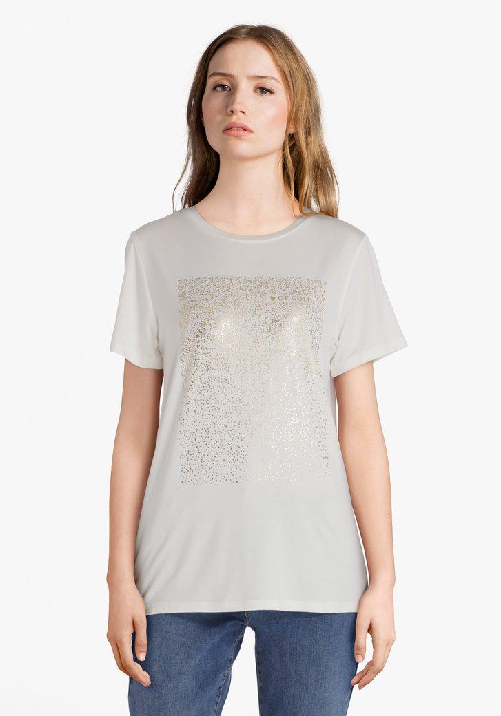 Afbeelding van Ecru T-shirt met goudkleurige stippen in reliëf
