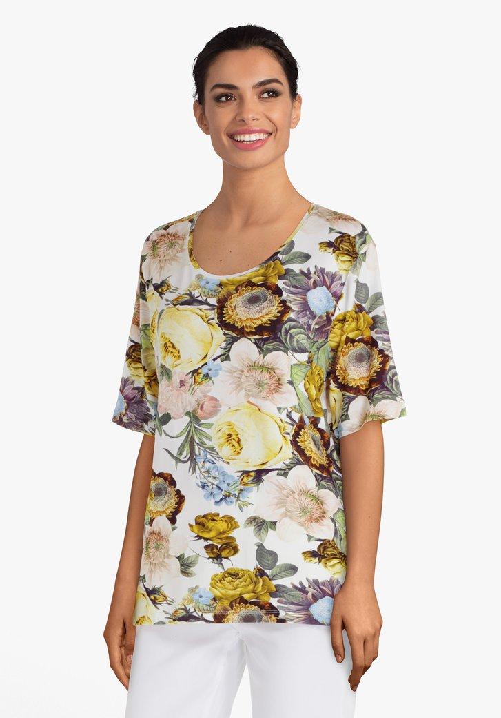Ecru T-shirt met kleurrijke bloemen