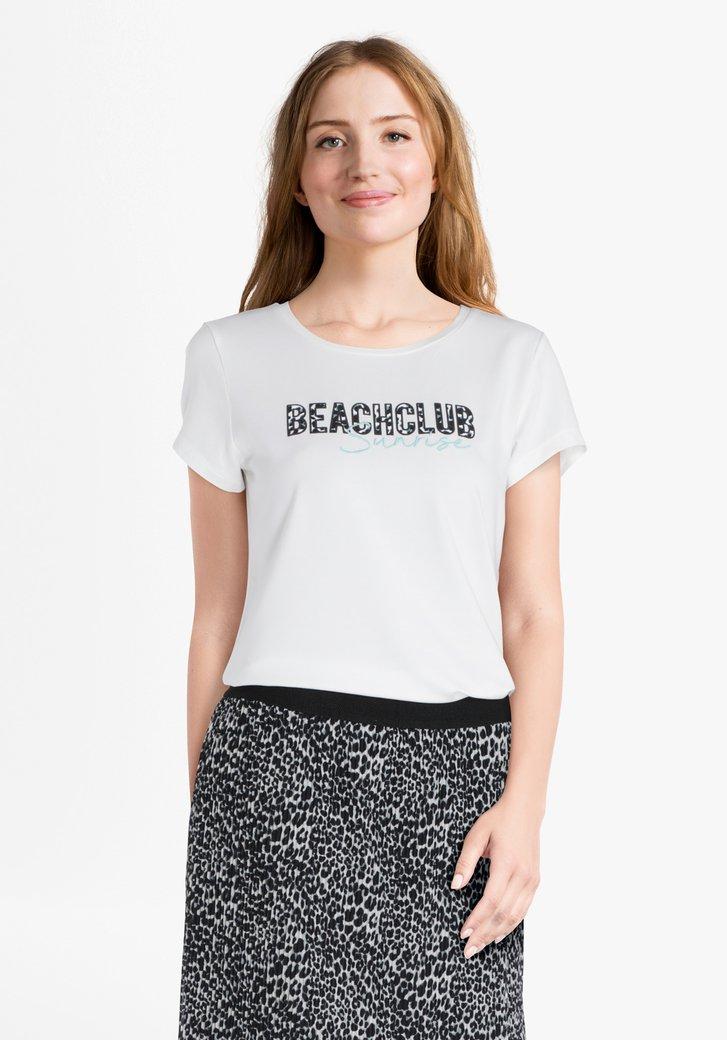 Ecru T-shirt met opschrift