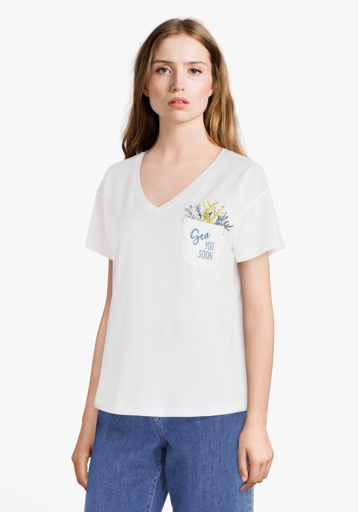 "Ecru T-shirt met opschrift ""Sea you soon"""