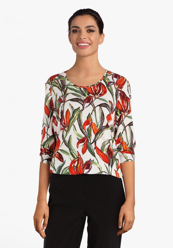 Ecru T-shirt met oranje bloemenprint