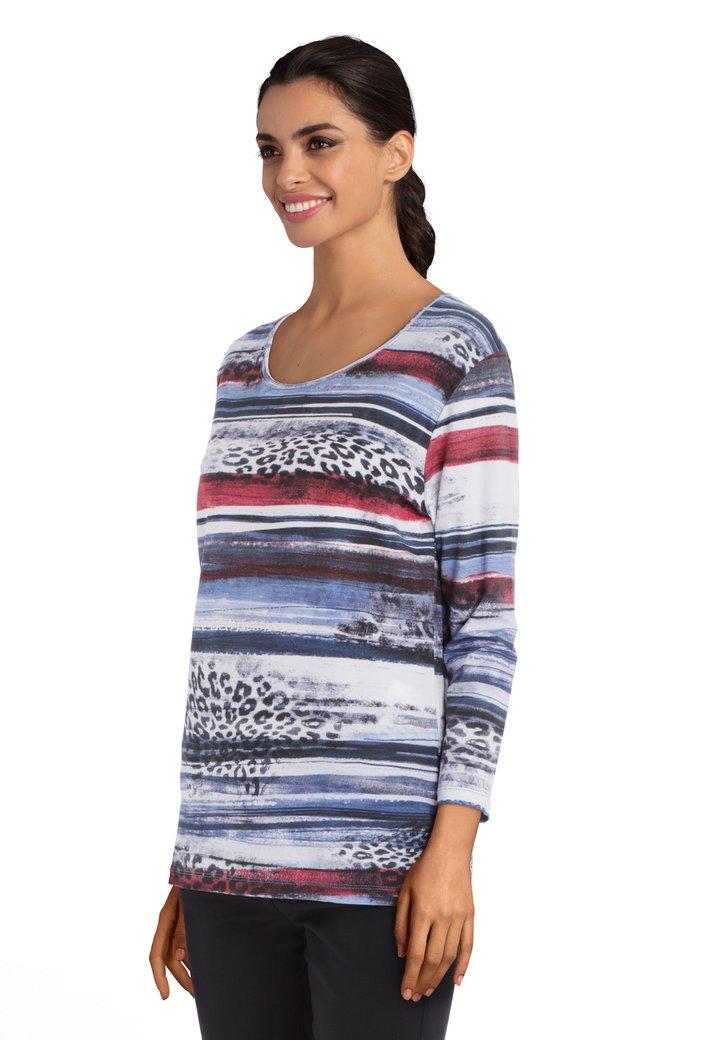 Ecru T-shirt met rood-blauwe print