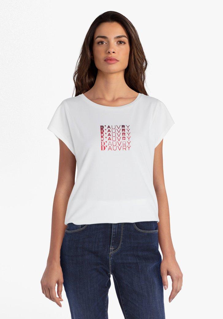 Ecru T-shirt met rood opschrift