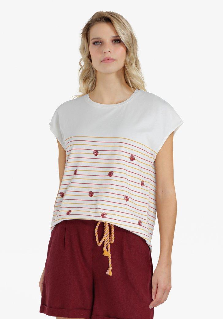 Ecru T-shirt met rood-oranje strepen