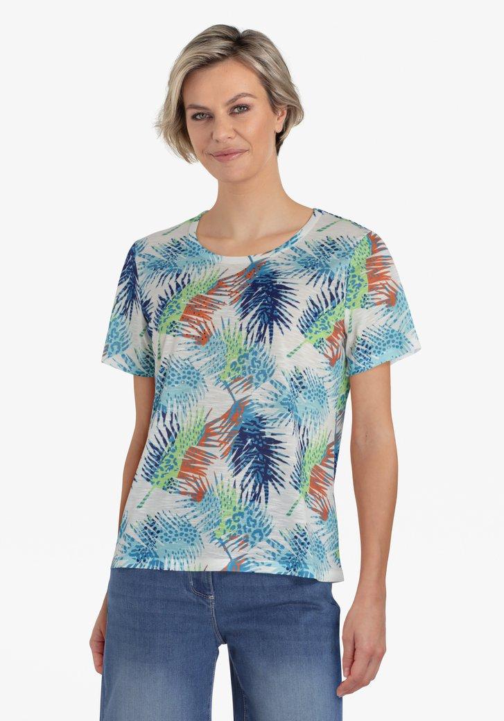 Ecru T-shirt met tropische print in groen en blauw
