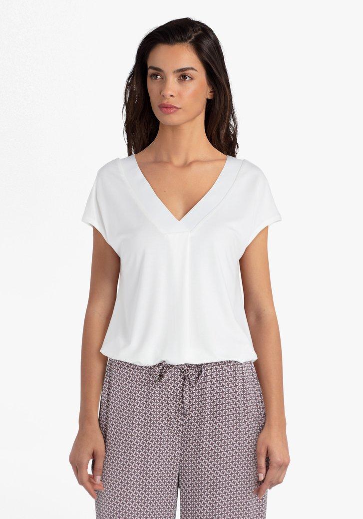 Ecru T-shirt met V-hals