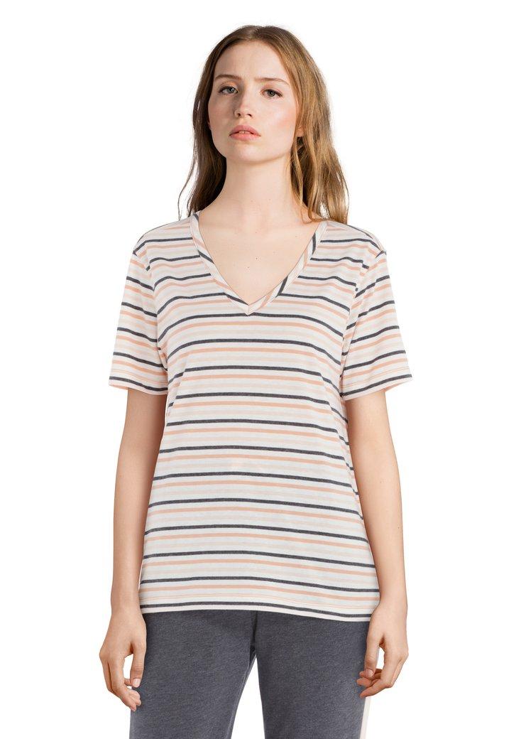 Ecru T-shirt met V-hals en zwart-oranje strepen
