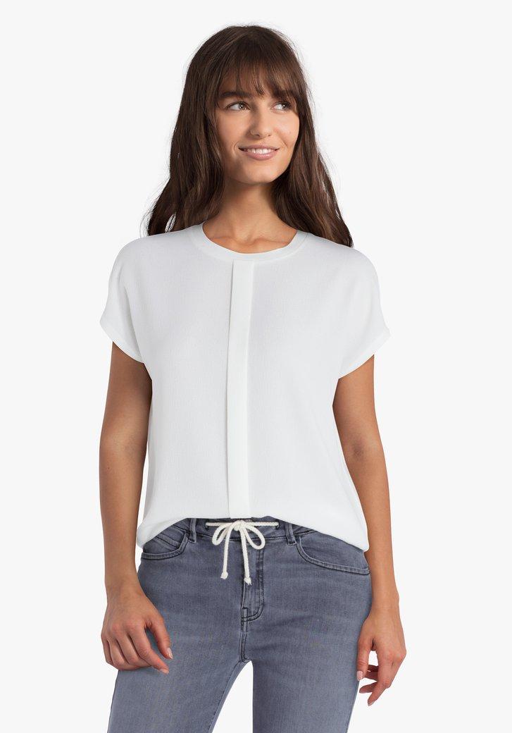 Ecru T-shirt met verticale deelnaad