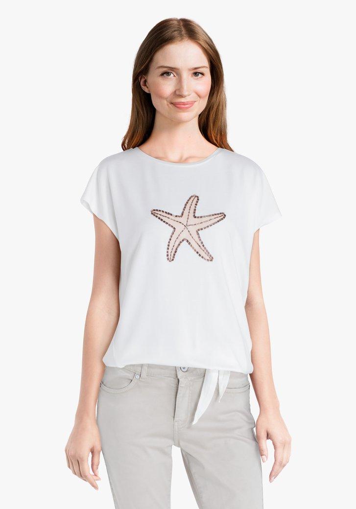 Ecru T-shirt met zomerse print