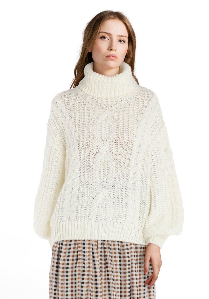 Afbeelding van Ecru trui met rolkraag en kabelmotief
