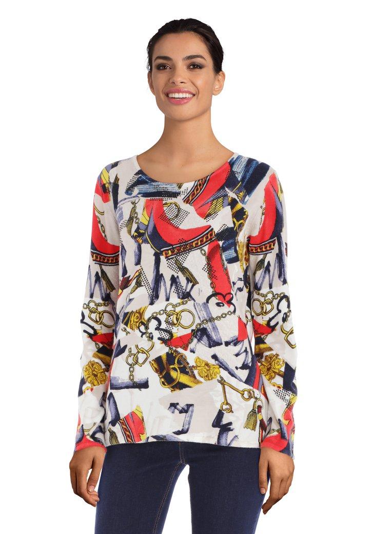 Ecru trui met rood-blauwe print