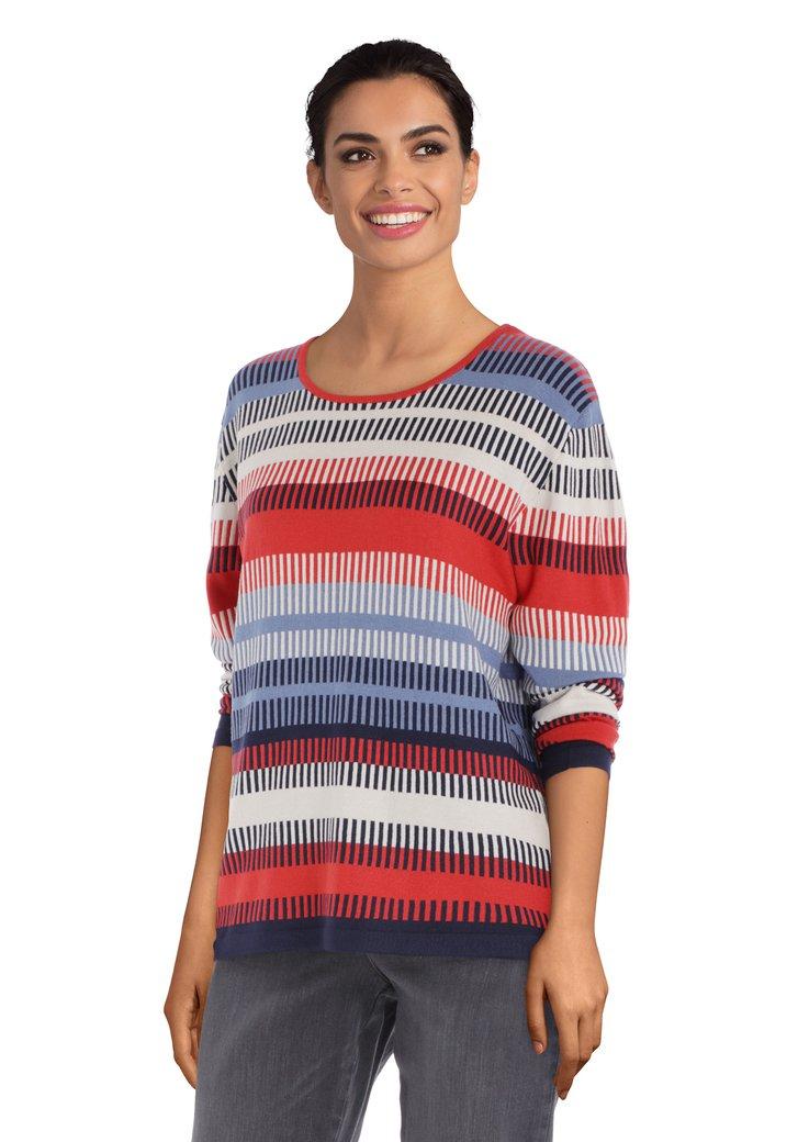 Ecru trui met rood-blauwe strepen