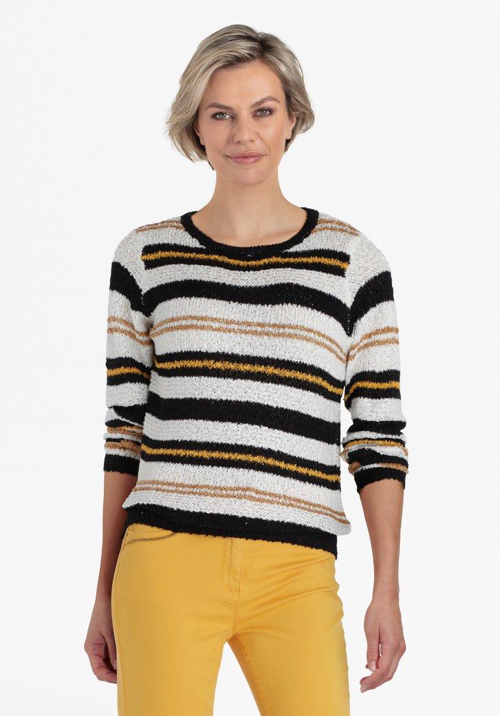 Ecru trui met zwarte en gouden strepen