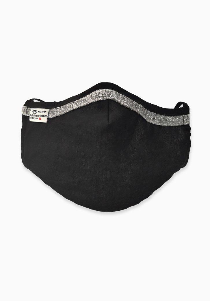 Feestmondmasker - zwart met zilveren glitter