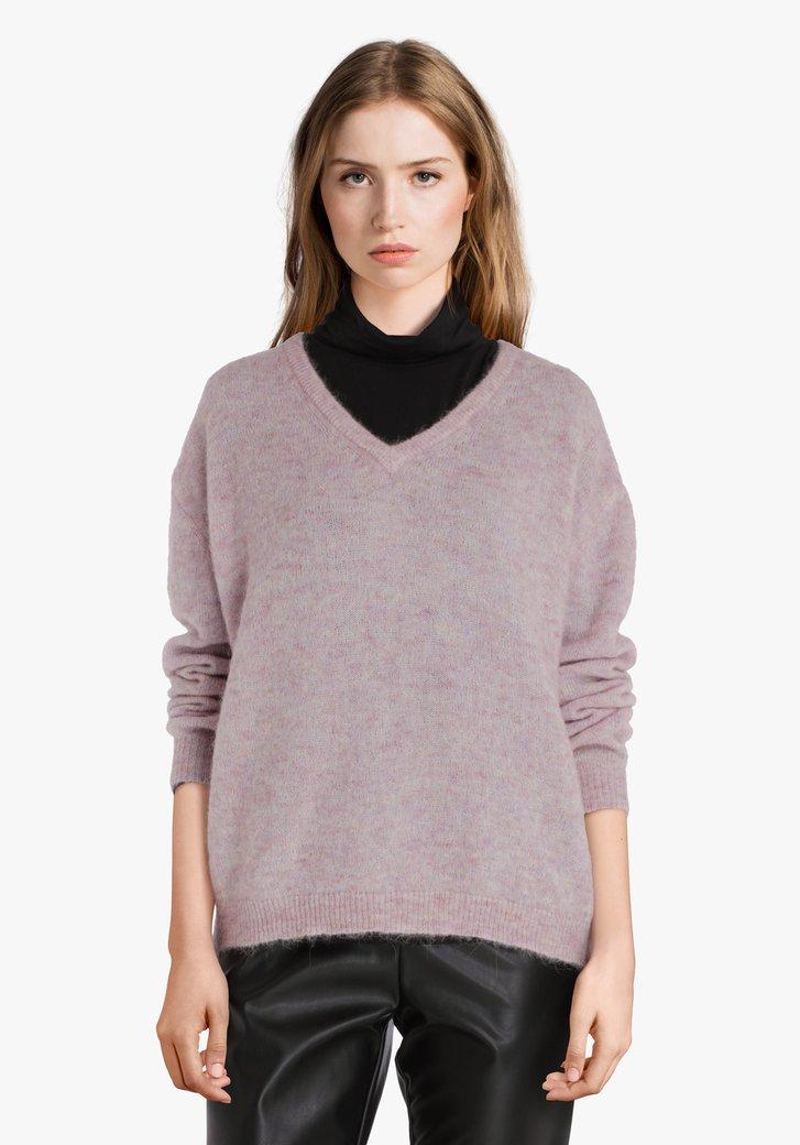 Fijngebreide lila trui met V-hals