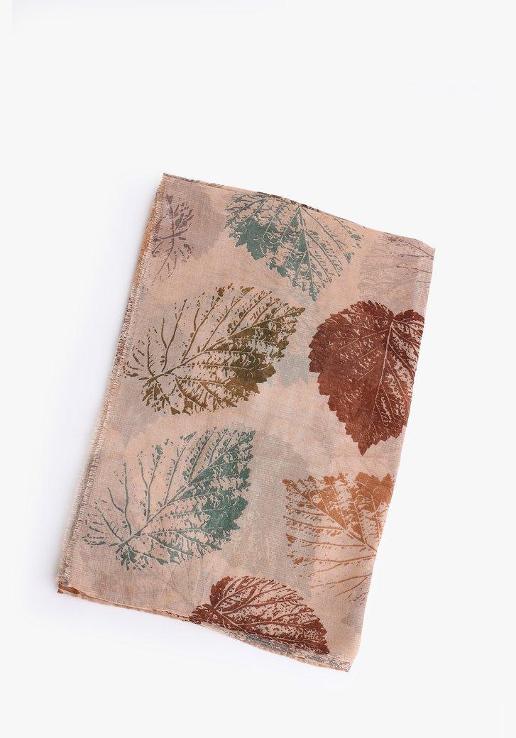 Foulard beige avec imprimé et fil pailleté