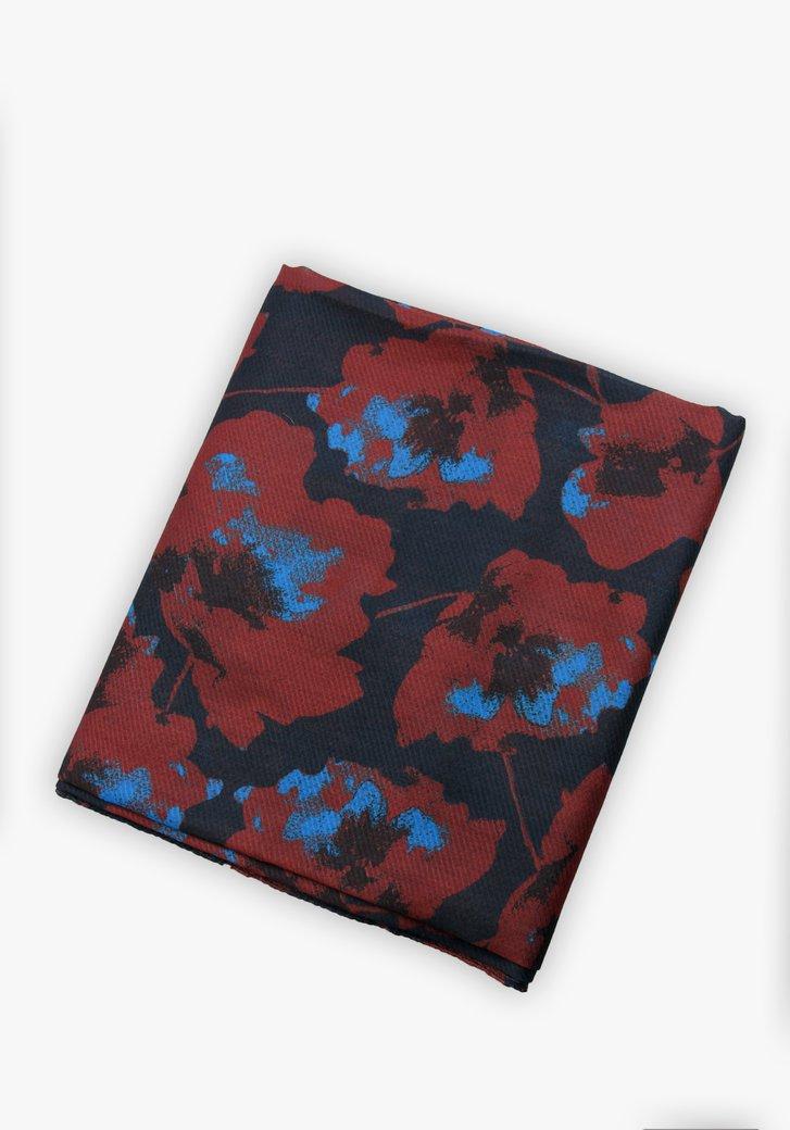 Foulard bleu marine à imprimé floral marron