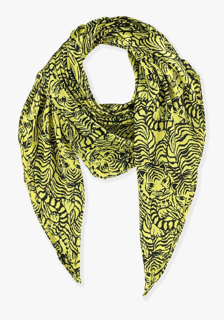 Foulard jaune à imprimé léopard noir