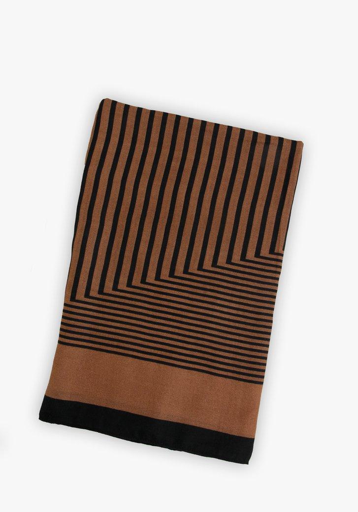 Foulard marron avec imprimé