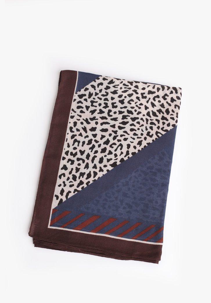Foulard marron bleu avec imprimé