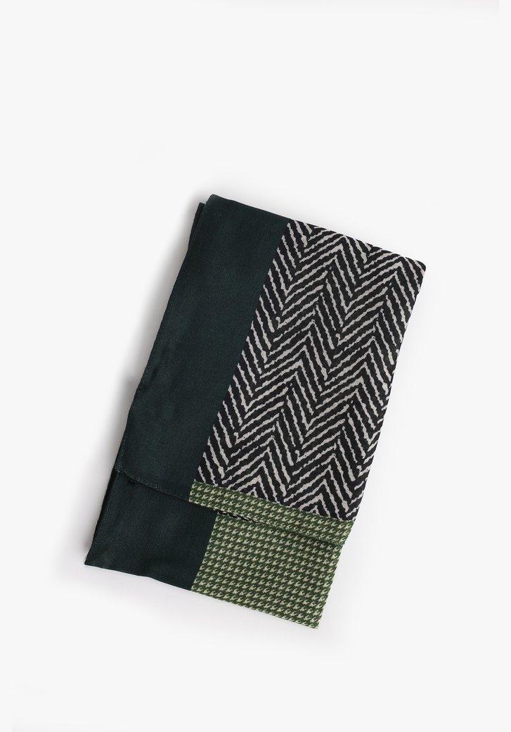 Foulard vert avec imprimé