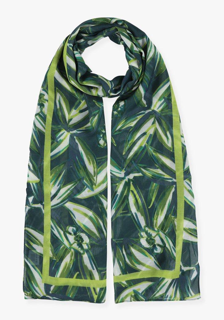 Foulard vert-bleu avec imprimé botanique