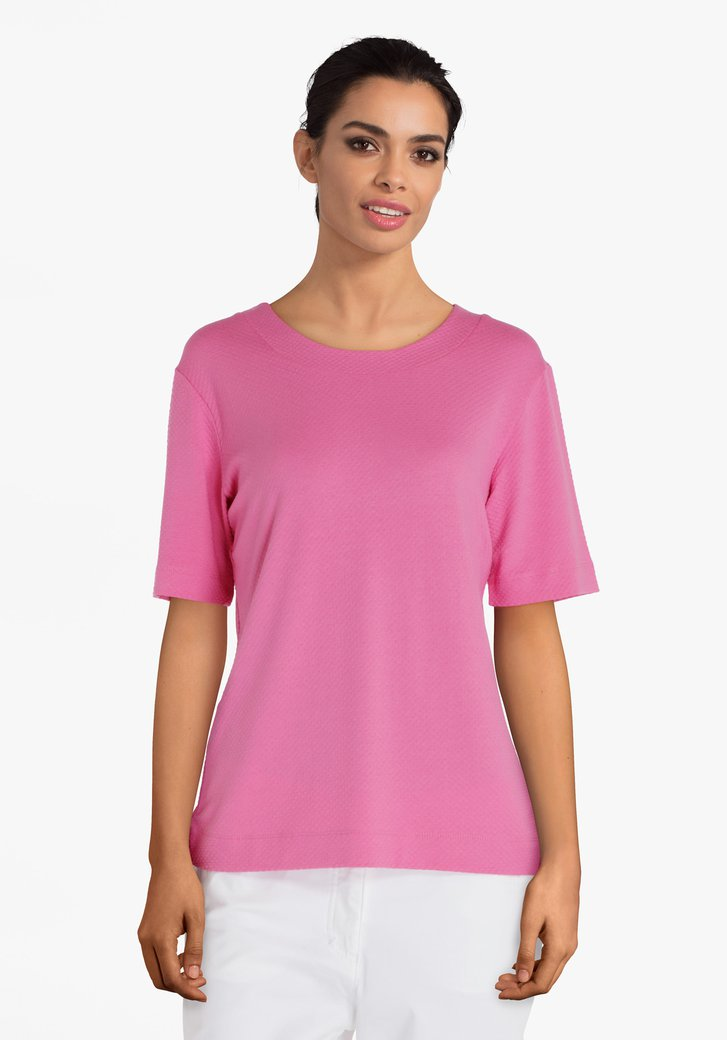 Fuchsia T-shirt in wafelstof