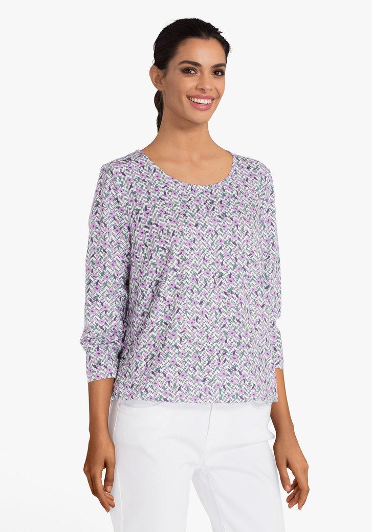 Fuchsia T-shirt met kleurrijk motief