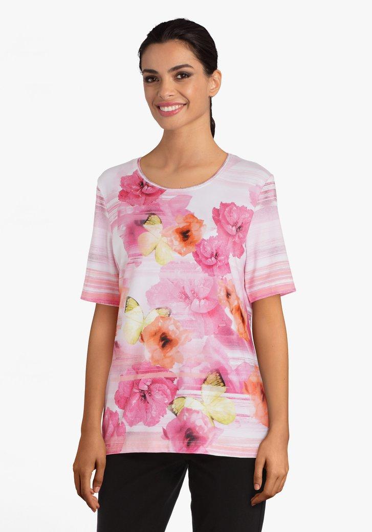 Fuschia T-shirt met bloemen in viscose