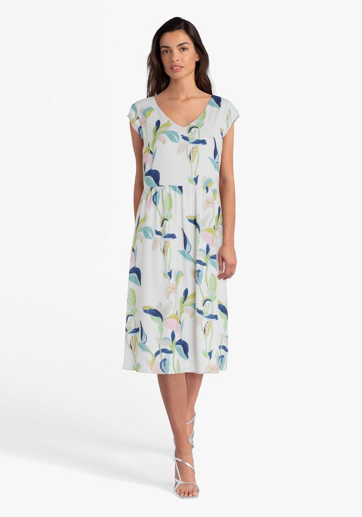 Gebroken wit kleed met pastelkleurige print