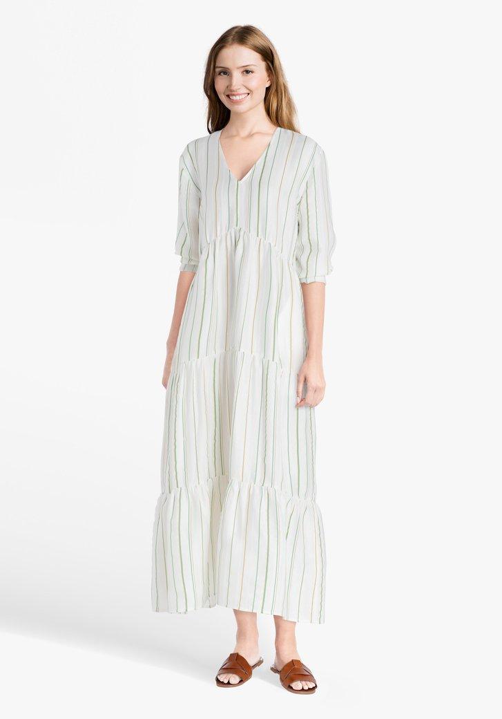Gebroken wit kleed met streepjes