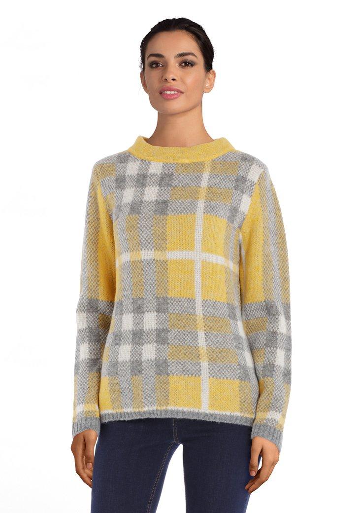 Afbeelding van Geel-grijs geruite trui