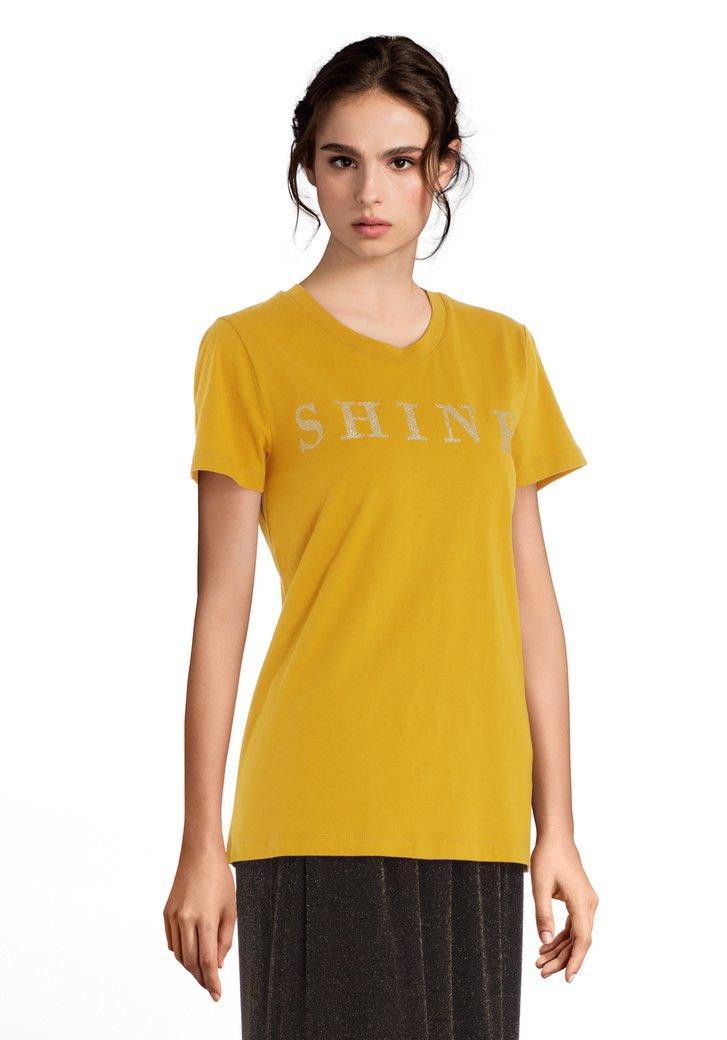 """Geel T-shirt met lurex print""""Shine"""""""
