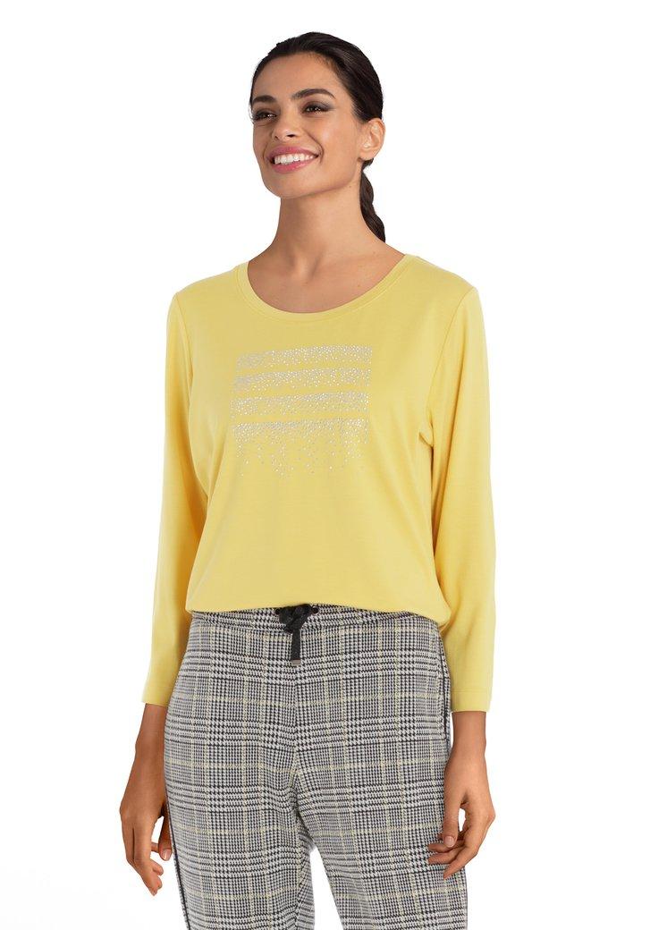 Afbeelding van Geel T-shirt met strass
