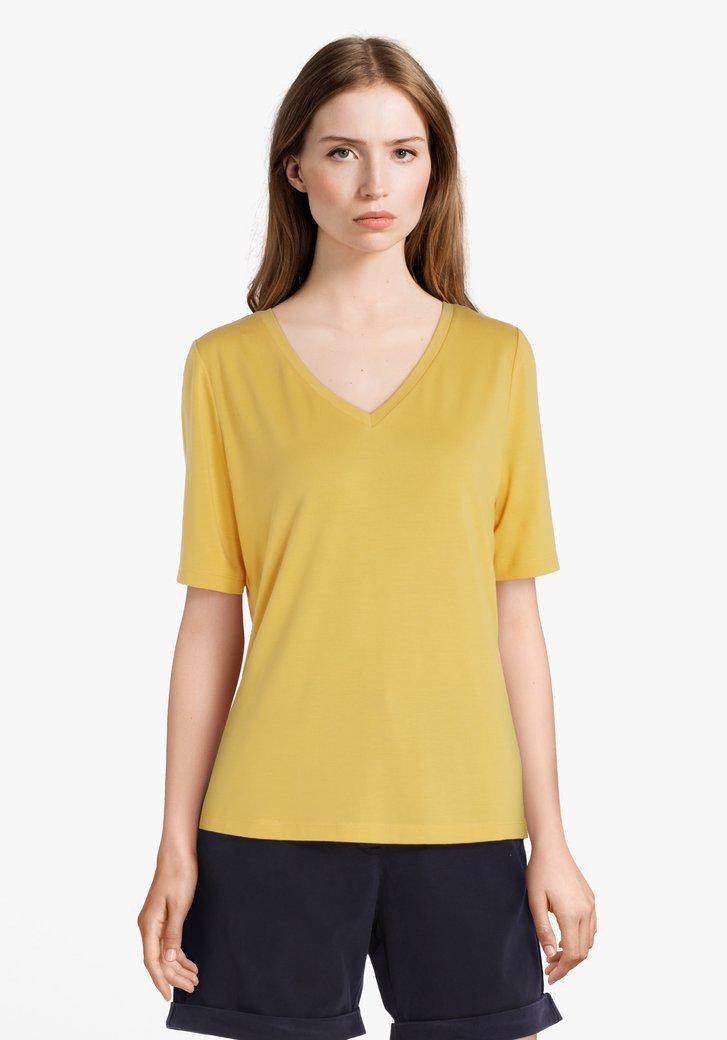 Geel T-shirt met V-hals in modal