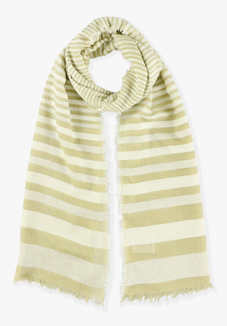 Geel-wit gestreepte sjaal