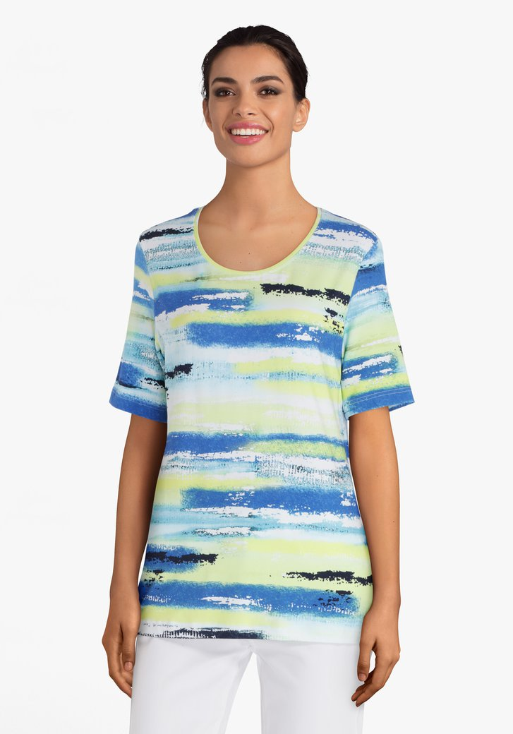 Geelgroen gestreept T-shirt met blauwe accenten