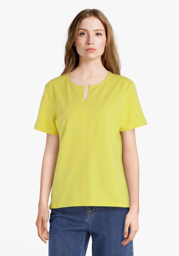 Geelgroen T-shirt in stretchkatoen met reliëf
