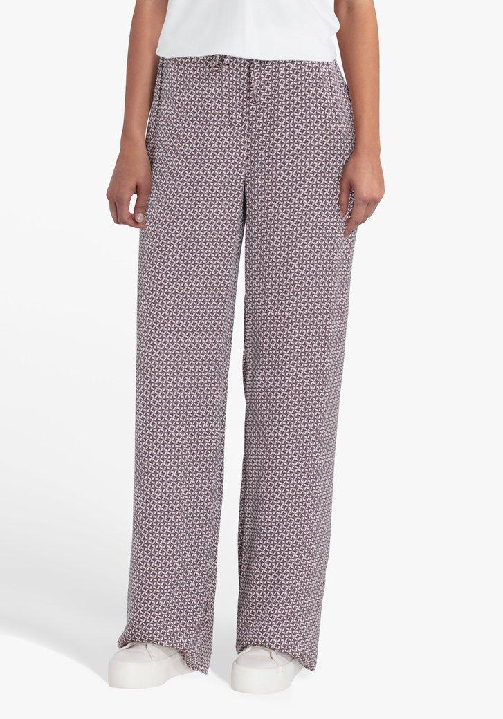 Geklede broek met geometrische print-straight fit