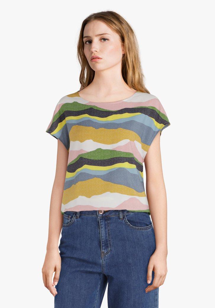 Gekleurde blouse met ronde hals