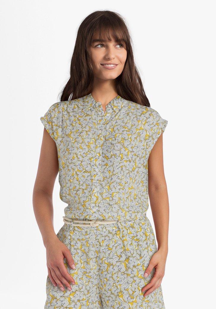 Gele blouse met citroenprint