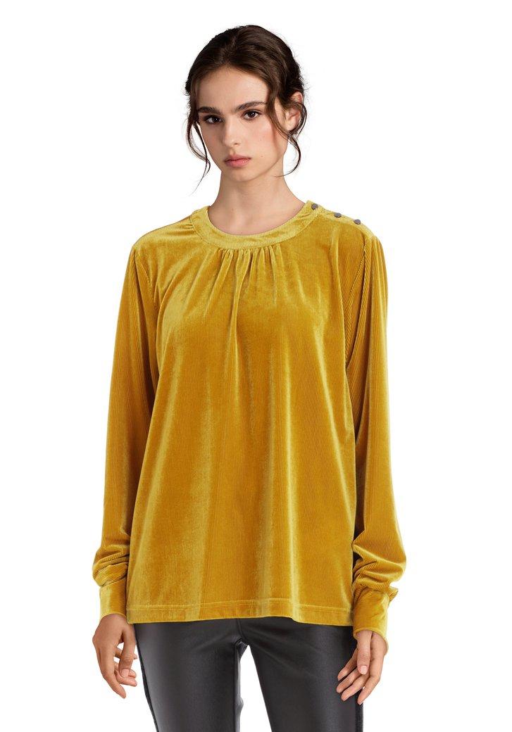 Gele blouse met ribfluweel